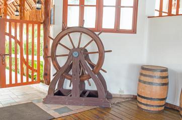 Brown wooden wheel