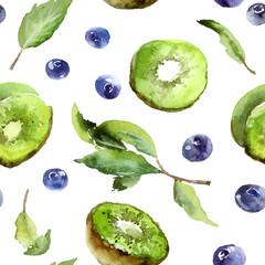 Kiwi, mint and blueberries
