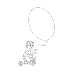 Vector flat sketch little boy child riding bicycle holding big air balloon smiling. Happy male kid character celebration party invitation card coloring book design. Isolated monochrome illustration