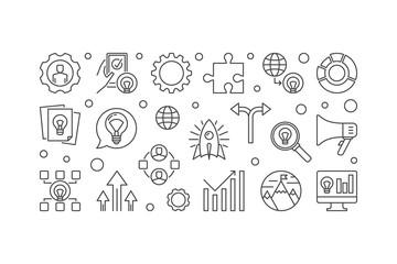 Business Incubator outline banner. Vector startup illustration