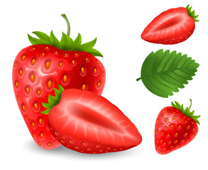 Set of strawberry berries
