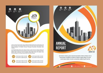 modern cover, brochure, layout for annual report with city background