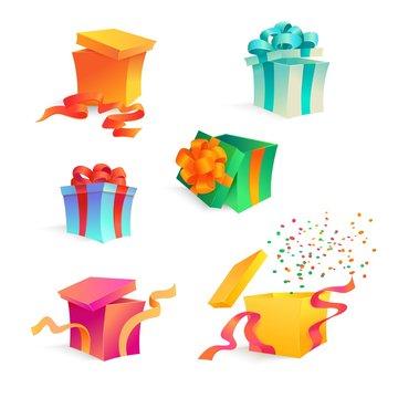 Vector cartoon present gift box set. bright wrapping, elegant ribbon bow confetti. Birthday anniversary party, new year christmas valentine xmas holiday decoration invatation greeting card design