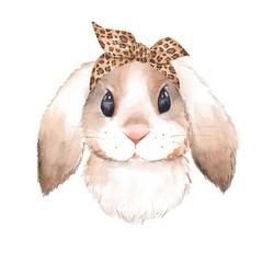 Bunny wearing bandana. Watercolor illustration. Isolated on white background