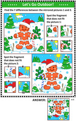 New Year or Christmas visual puzzles with ginger man. Find the differences between the mirrored pictures. Spot the wrong fragments. Answers included.
