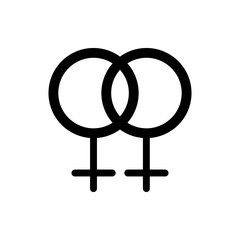 LGBT, two female symbols crossed representing lesbian relationship, isolated vector icon