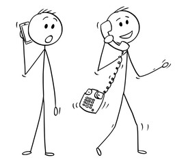 Cartoon stick drawing conceptual illustration of walking man or businessman making phone call with old table phone instead of mobile cell phone. Another man with smartphone is looking at him