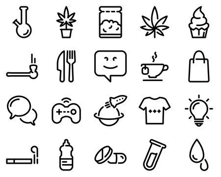 Set of black vector icons, isolated on white background, on theme Marijuana and entertainment