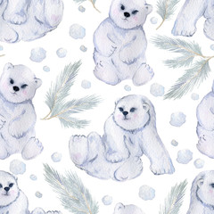 Seamless pattern with cute little polar bears, fir trees and snow. Isolated on white background. Watercolor illustration