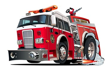 Vector cartoon firetruck