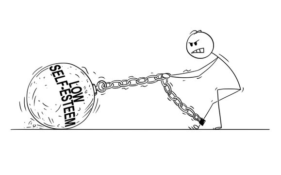 Cartoon stick drawing conceptual illustration of man or businessman pulling hard big Iron ball chained to his leg. Concept of low self-esteem limiting affected person .