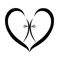 A Christian patterned cross in the heart