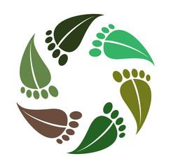 Symbol barefoot, leaves as footprint