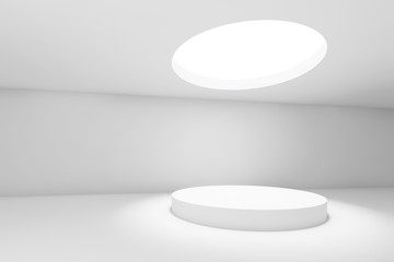 Blank 3d showroom with round ceiling light