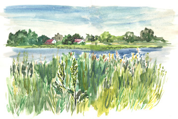 Hand drawn watercolor sketch, Countryside houses, lake, rass, summer day. Landscape illustration