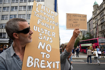 Demonstrators protest against the visit of U.S. President Donald Trump to the United Kingdom, in Belfast