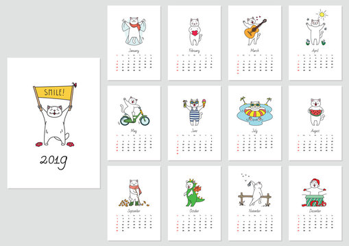 Monthly calendar 2019 template with a funny cat enjoying seasons. Vector illustration 8 EPS.