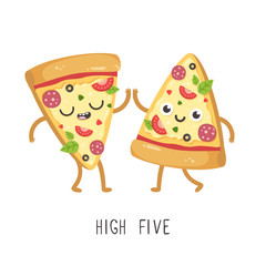 Cute cartoon pizza slices giving high five. Vector illustration
