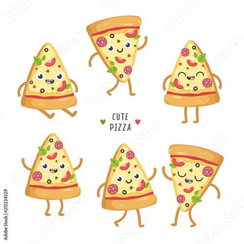 Illustrations of cute cartoon pizza slices  Kawaii vector characters