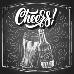 Cheers! hand lettering with beer vintage drawn ethcing sketch on black chalkboard background. Vector illustration.