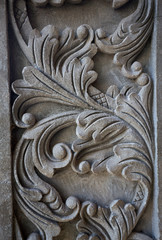 Floral carvings in concrete