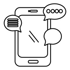 smartphone device with speech bubble