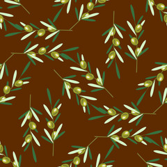 Branches of olive tree. Seamless pattern. Green olive fruit, leaves