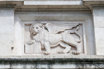 Lion at Porta San Giacomo. Detail of the gate to old city of Bergamo in Italy.