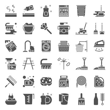 Cleaning and laundry service and equipment, solid icon set