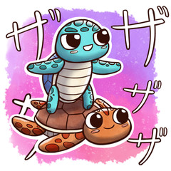 Turtle surfing another turtle – square size with watercolor background and Japanese onomatopoeia