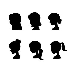 Set of silhouette female profile avatars