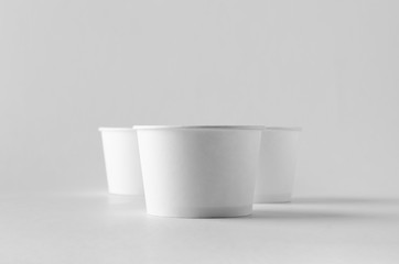 White ice cream paper cup mock-up.