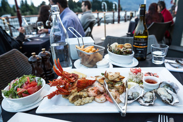 Fresh seafood platter at a restaurant on the harbour at Queenstown, New Zealand