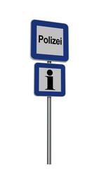 deutsches Hinweisschild für Polizei und Information auf weiß isoliert.Text Polizei auf deutsch. 3d render