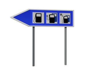 Autobahnschild mit Hinweisen für Tankstelle, Ladestation für Elektrofahrzeuge und Wasserstelle. 3d render