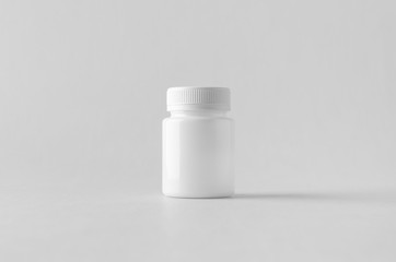 White plastic supplement / medicine mock-up.