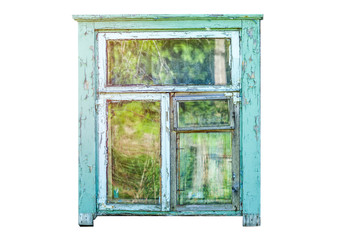 The frame of an old dilapidated window, isolated on white background.
