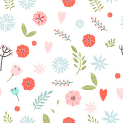 Vector floral pattern in doodle style with flowers and leaves on white background