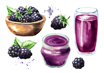 Blackberry juice, jam, marmalade and fresh ripe berries with leaves. Hand drawn watercolor illustration, isolated on white background