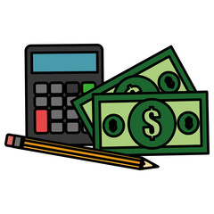 calculator math with bills and pencil