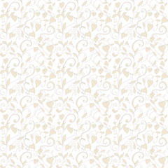 Seamless love background, wedding floral pattern with hearts