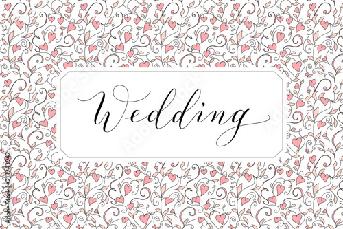 Wedding Card With Hearts Pattern Background Invitation Template
