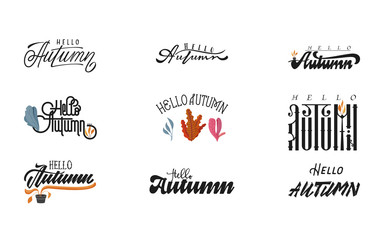 Hello Autumn. Handwritten set modern brush calligraphy for invitation and greeting card, t-shirt, prints and posters.