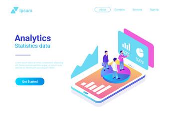 Isometric Flat Analytics Marketing Vector People Smartphone