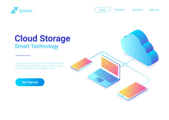 Isometric Flat Data Cloud Storage Network vector. Online Hosting