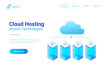 Isometric Flat Data Hosting Servers connected to Cloud vector