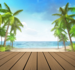 wooden deck with tropical palms background