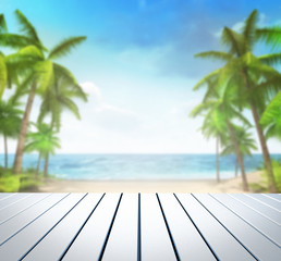wooden white deck with tropical palms background