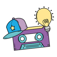 color retro cassette tape with cap and bulb