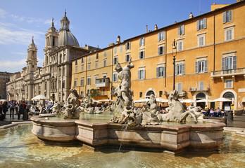 Fontana del Moro (Moor Fountain) on Piazza Navona in Rome. Italy
